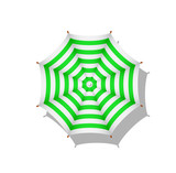 Green and white striped beach umbrella