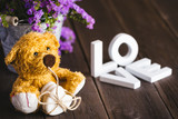 Love words and teddy bear