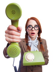 Teacher with green retro phone