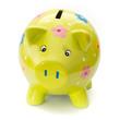 Funny painted ceramic piggy bank