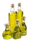 bottles with olive oil isolated on white