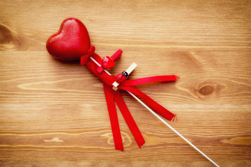 Beautiful red heart on a wand