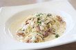 Spaghetti Carbonara with bacon and cheese