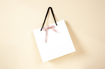 gift with  bow on wall