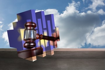 Composite image of hammer and gavel on abstract screen