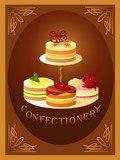 Confectionery – sign with four kinds of cakes