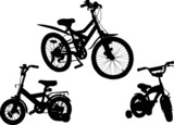 set of three bicycle silhouettes on white