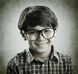 Little cute boy posing for retro style photography