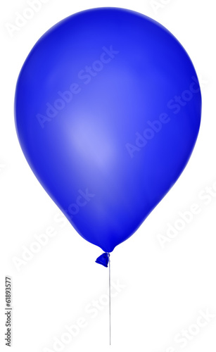 illustration with single blue balloon isolated on white