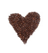 Heart drawn with roasted coffee beans