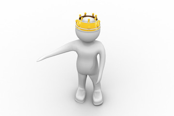 3d white man with a gold crown raised his hand