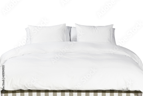 White pillows and blanket on a bed