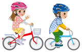 Kids riding bicycle,Helmet, Isolated