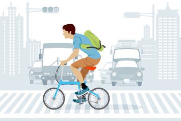 Man riding bicycle on crosswalk