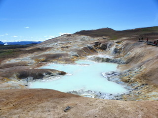 Icelandic landscape with lake and mudpot