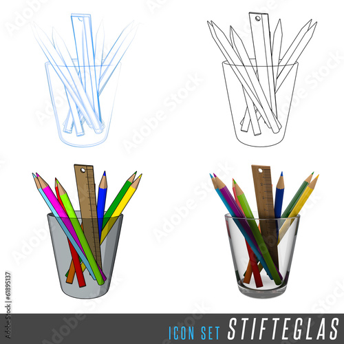 3D Iconset Stifteglas