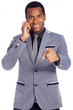 Smiling afro american business man talking on the phone and poin