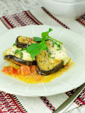Homemade Aubergine with mozzarella and tomatoes