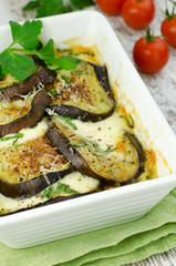 Baked Aubergine with mozzarella and tomatoes