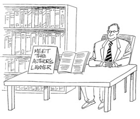 Meet the author's lawyer at the side table