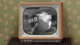 Retro b&w TV showing news, green background & TV test