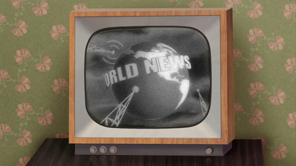 Retro b&w TV showing news, green background & TV test