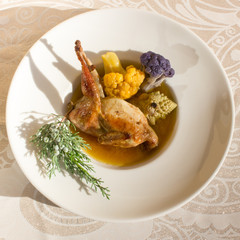 Roasted quail with cauliflower, square