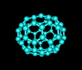 Fullerene molecule illustration isolated on black