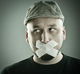 Man forbidden talking concept