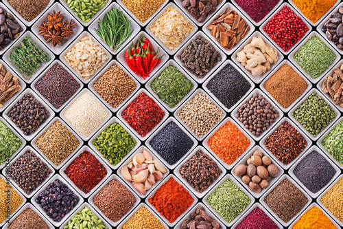 Seamless texture with spices and herbs - 61898347