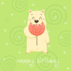 Bear with candy, birthday card