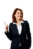 Smiling businesswoman with thumb up isolated on white background