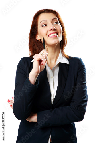 Cheerful businesswoman woman holding pen