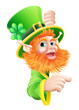 Leprechaun pointing to sign