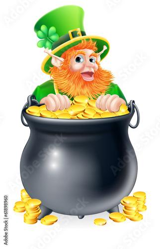 Leprechaun and pot of gold