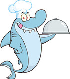 Chef Shark Cartoon Character Holding A Platter