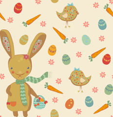 Cute easter bunny seamless pattern