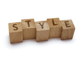 wood blocks with style word on white background