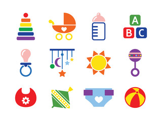 vector card with colorful baby icons