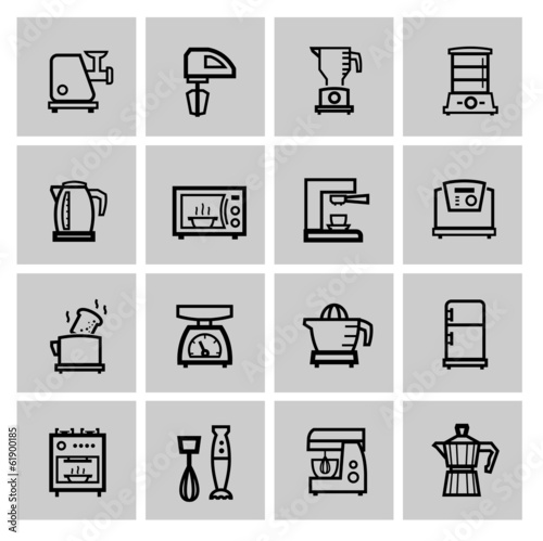 vector black household icon set