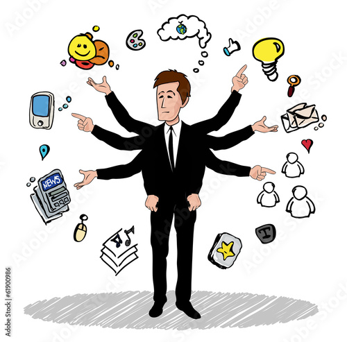 Multi arms Business man multitask social media cartoon drawing