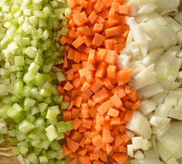 Diced raw vegetables