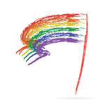 Rainbow flag vector illustration on white background