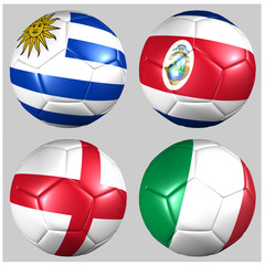 Ball with flags of the teams in Group D World Cup 2014