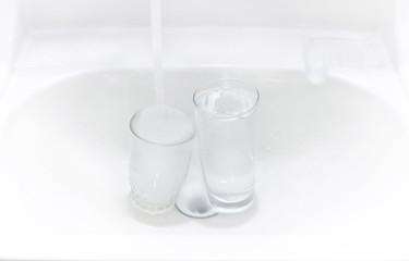 glass in sink