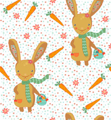 Cute easter bunny seamless pattern 2
