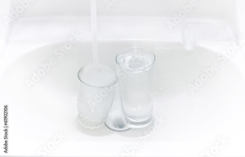 glass in sink