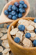 bran flakes and blueberries