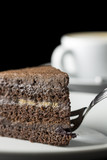 Slice of delicious fresh chocolate cake