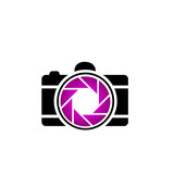 Photography logo- digital camera with purple aperture
